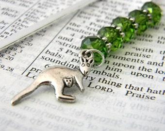 Kangaroo Bookmark with Green Glass Beads Shepherd Hook Steel Bookmark Silver Color