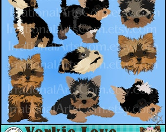 Yorkie Love set 1 INSTANT DOWNLOAD dog digital clipart graphics 8 gorgeous full color 4 Yorkie full body and 4 Yorkies faces tricolor