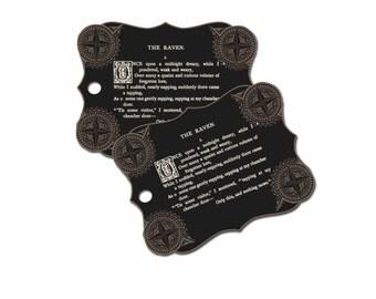 Raven Halloween Gift Tags, Black Goth Raven Poem Gift Tags, Edgar Allen Poe Gift Tags