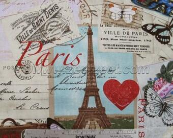 PARIS DE VILLE Antique Eiffel Tower DeVille France French Parisville Cotton Quilt Fabric by Yard, Half Yard or Fq Timeless Treasures