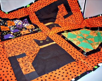 Halloween Black Cat Quilted and Patchwork Table Topper