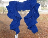 Hand Knit Soft Spiral Scarf - Royal Blue 100% Acrylic