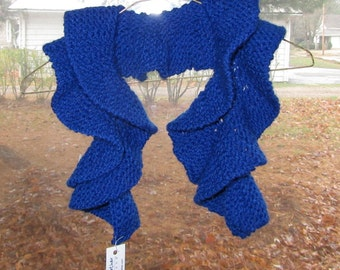 Hand Knit Soft Spiral Scarf - Royal Blue 100% Acrylic