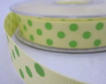 5 metres Yellow and Green Polkadot Grosgrain Ribbon