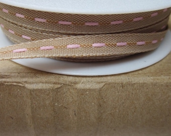 20 metres Brown and Pink Stitched Narrow Ribbon