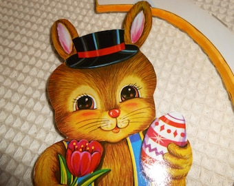 Vintage Honeycomb Easter Bunny Egg Wall Hanging. Vintage Easter Decorations
