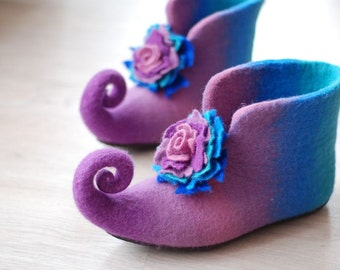 Fairy shoes felted home slippers in violet and blue  with flower can be made in custom colors HANDMADE TO ORDER