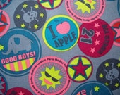 SALE - 1/2 meter gray and neon Japanese boy cotton oxford fabric - skull, all star, apple, bang, good boys, smiley face
