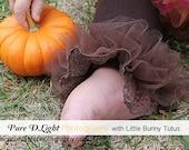 "Chocolate Brown Girls Ruffle Tutu Leg Warmers - Perfect 4 Thanksgiving - fits baby 6m to girls 6X approx 12"" long"