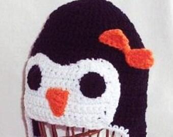 Baby Girl Penguin Hat, Girl Penguin Earflap Hat, Baby Photo Prop, Baby Animal Hat, Girl Penguin Beanie