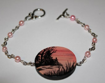 Hand Painted Wooden Bead Lake Silhouette Bracelet