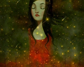 She Dreamt She Rose Above It 8X10 - melancholy girl constellation art goddess print, inner strength, goddess night - by Lisa Falzon -- 8X10