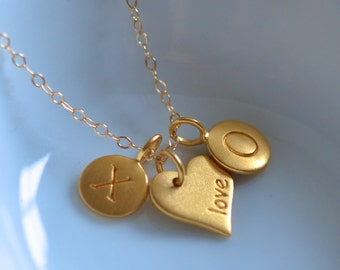 Hugs Kisses and Love Heart Pendant Gold Filled Necklace - Valentines Day Gift