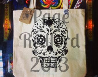 Calavera Tote Bag // Sugar Skul // Natural Canvas // Dia De Los Muertos