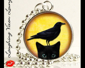 Black Cat Necklace - Raven Necklace - Black Cat And Raven Small Pendant - Square Or Round - Black Cat Jewelry - Raven Jewelry - Kitty Kitten