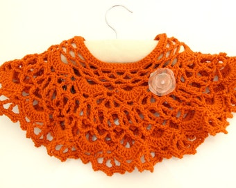 Crocheted Russet Lacy Poncho. Toddler. Capelet.