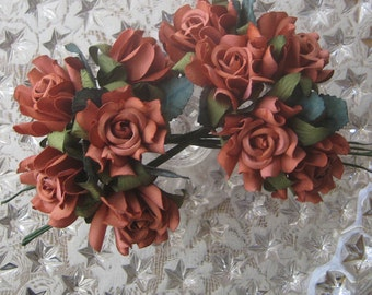 10 Handmade Paper Millinery Country Roses In Brown