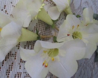 Vintage Millinery Flowers East Germany Morning Glory Fabric Millinery Flowers Light Yellow  VF 068 LY