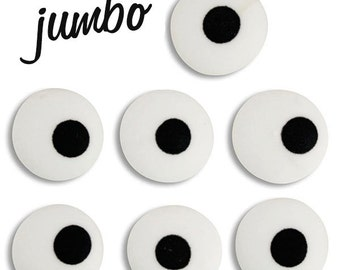 Jumbo White Royal Icing Eyes - edible royal icing eyes for decorating halloween, animal, or people cookies, cupcakes, and cakepops