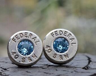 Bullet Earrings stud earrings or post earrings Federal .40 S&W silver earrings bullet jewelry gift for her with Swarovski crystals