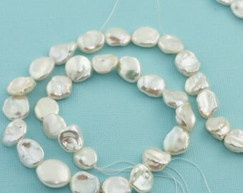 Center Drilled Freshwater Cultured White Keishi Pearl Bead 16 inch Strand