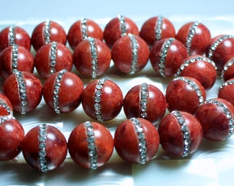 15mm Red Sponge Coral Rhinestone Semi Precious Gemstone Bead STRAND Smooth Russet Color Jewelry Beads Jewellery Supplies Fancy Marcasite