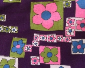 Bright Pink and Purple Vintage 70s Cotton Fabric, Psychedelic Flowers, Groovy, Hippie, Bohemian