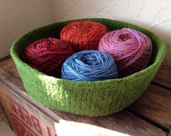 Felted Wool Storage Basket/ Natural Home Decor/ Extra Double-Wide Treasure Bowl Moss Green/ Made-to-Order