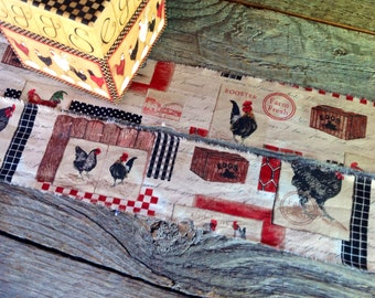 The last of  this trim - Homestead Farmhouse Tea Dyed Hand Frayed Ribbon Trim -  Rooster - Chicken - Crate - Eggs