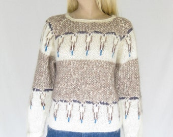Vintage 80s Abstract Print Mohair Sweater