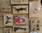 Lot of 19 Fashion Rubber Stamps, Fancy Lady, Hat, High Heels, Evening Gown, Dress, Gloves, Necklace, Style