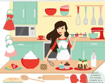 Baking clipart - cooking clip art, kitchen, girl, aprons, food, sweets, mixer, cook, digital clipart for scrapbookings, bakery, sweets, food