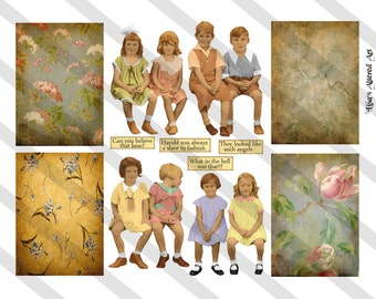 Digital Collage Sheet Vintage Children group Images Postcard Images (Sheet no. O124) instant Download