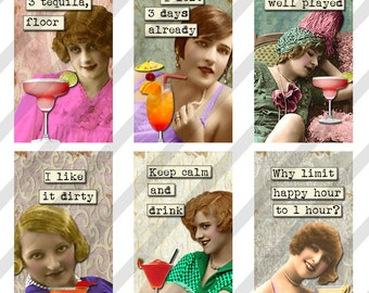 Digital Collage Sheet 1 X 2 inch  Domino Cocktail drinking  Ladies (Sheet no. FS217) Instant Download
