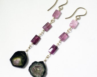 Pink Tourmaline and Watermelon Tourmaline Slice Gemstone Dangle Earrings Raw Stone Earrings GEM-E-170-PTWT-001g