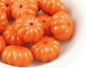12 Orange Pumpkin Beads - 15mm x 9mm Acrylic Beads - Tangerine Warm Orange Beads - Fall Autumn Halloween Thanksgiving Supplies