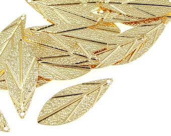 48 Leaf Charms - 28mm x 11 Gold Charms - Bright Gold Leaf Charms - Gold Plated Leaves - Autumn Fall Supplies Metal Beads