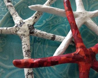 Paper mache Starfish, red starfish, upcycled starfish, recycled starfish, white starfish