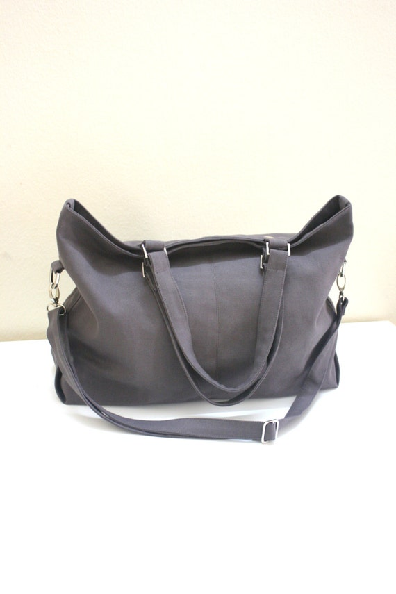 SALE 25%  - Mia in Gray messenger bag / diaper bag / School bag / Shoulder bag / laptop bag /canvas  tote / women / For Her