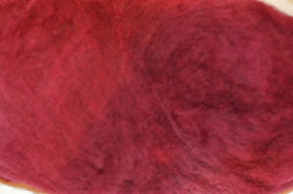 Hand-dyed Falkland Fibre Batts in Shades of Burgundy and Red