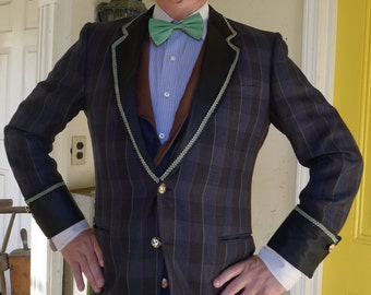 Up-cycled Navy Blue and Green Plaid Tweed  Piped  Mad Men Smoking Jacket
