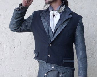 Up cycled Black Steampunk Cutaway Jacket and Canterbury Pewter Grey Lapeled Vest Ensemble