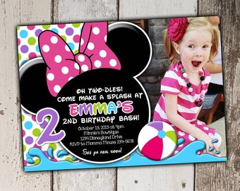 Minnie Mouse Swim Party Invitations - any age - picture spot - Birthday - print yourself JPG