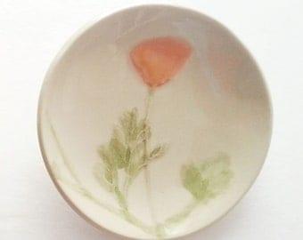 California Poppy: pottery handmade decor ceramic plate orange white green