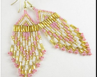 Native American Style Beadwork Fringe Seed Bead Earrings Pink Champagne on Ice