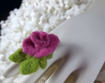 Felted Ring, Pink Rose