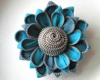 Blue Recycled Zipper Flower Hair clip or Brooch or Hair Clip