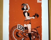 Girl Racer and Indian Scout, Giclee 250x350mm signed edition no.5 of 48