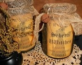 Olde Thyme Grungy Salem Witch Tryals Luminary Jar.Halloween,Candle,Wicca,Collectible,HHCOFG