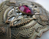 Vintage Art Nouveau sash pin with amethyst glass stone